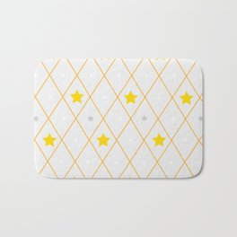Golden, silver and white stars with rhombuses Bath Mat