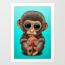 Cute Baby Monkey Playing With Basketball Art Print