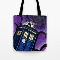 tardis Tote Bags featuring Tardis by Jelly Soup Studios