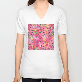 Pink and Peach Garden Unisex V-Neck