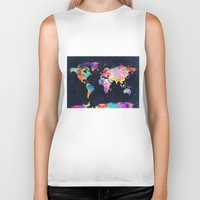 world maps Biker Tanks featuring World map by Bekim ART