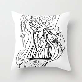 Girl and unicorn Throw Pillow