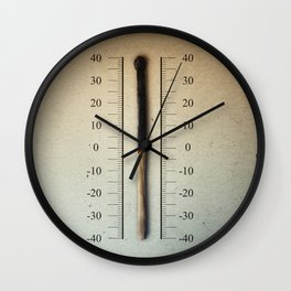 burnt match thermometer Wall Clock