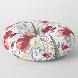 Botanical red ivory teal watercolor roses floral Floor Pillow