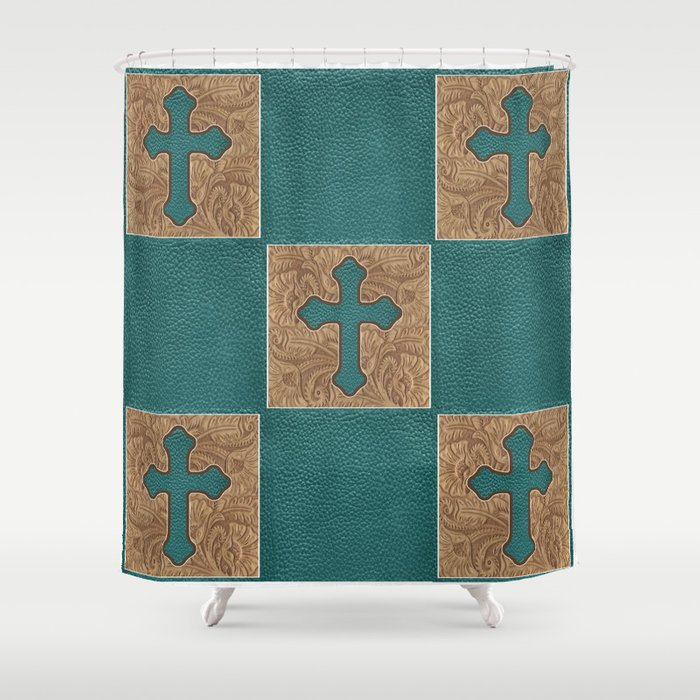 Western Cross Teal Brown Faux Leather Block Print Shower Curtain