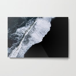 Waves crashing on a black sand beach – minimalist Landscape Photography Metal Print