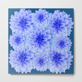 BLUE-WHITE DAHLIA FLOWERS IN  TEAL COLOR Metal Print