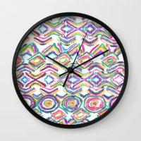 ikat Wall Clocks featuring ikat by  Ray Athi