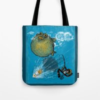 baloon Tote Bags featuring pufferfish baloon by MR VELA