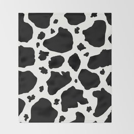 black and white animal print cow spots Throw Blanket