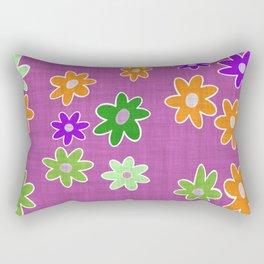 garden fantasy flowers over pink Rectangular Pillow