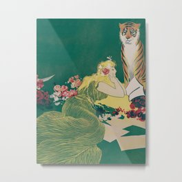 Fantasy Art Deco Woman With Pet Tiger Self culture (edited) - The Werner Company - 1890-1900 Metal Print