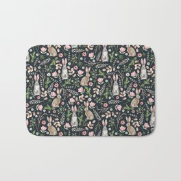 Cute rabbits (dark blue) Bath Mat