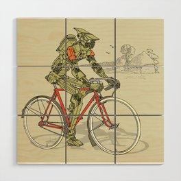 Robot Cyclist Wood Wall Art
