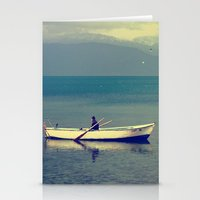 rowing Stationery Cards featuring rowing a boat in egirdir lake by gzm_guvenc