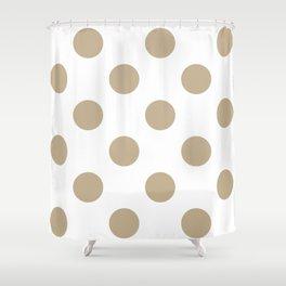 Large Polka Dots - Khaki Brown on White Shower Curtain