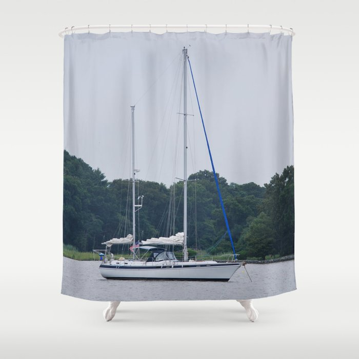 Sailboat Shower Curtain By Sarahshanely