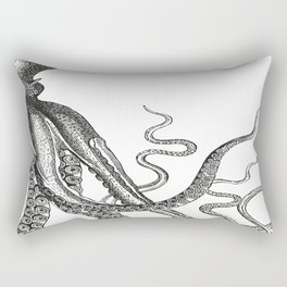 Half Octopus (Right Side) | Black and White Rectangular Pillow