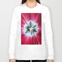 burgundy Long Sleeve T-shirts featuring Burgundy Tulip centre by Avril Harris