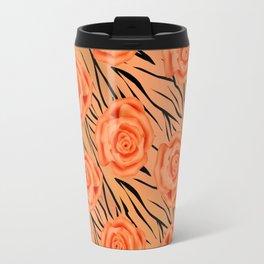Orange roses on tiger pattern . Travel Mug