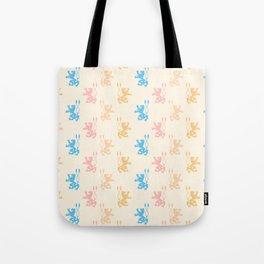 Vintage chic pink blue yellow lions damask pattern Tote Bag
