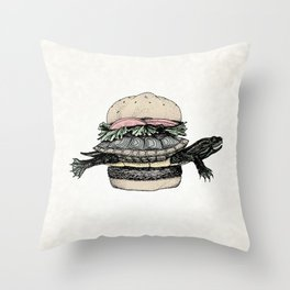 Turtle Sandwich | Desaturated Throw Pillow