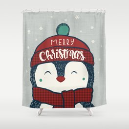 Christmas Penguin with hat Shower Curtain