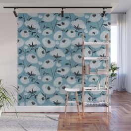 Cotton Flowers on Blue Pattern Wall Mural