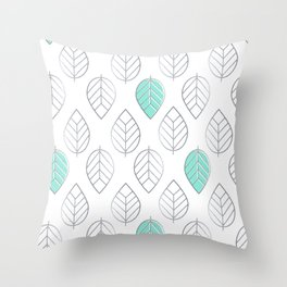 Silver Foil & Mint Leaves Pattern Throw Pillow