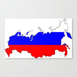 Russia Map with Russian Flag Canvas Print