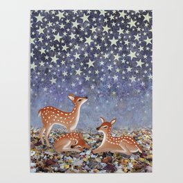 whitetail fawns under the stars Poster