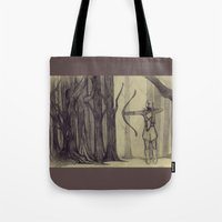 lotr Tote Bags featuring Legolas LOTR - the noisy silence of woods by Blanca MonQnill Sole