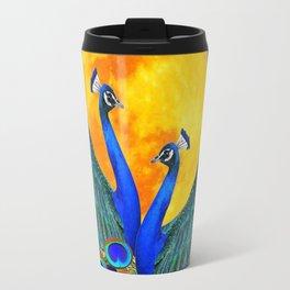 FULL GOLDEN MOON BLUE PEACOCK  FANTASY ART Travel Mug