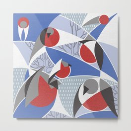 Birds bullfinches in blue, red and grey colors Metal Print