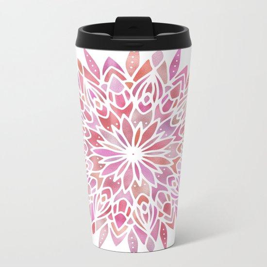 Mandala Pink Gold Metal Travel Mug