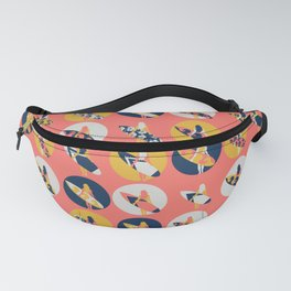 Surfer Girl Pattern Coral Fanny Pack