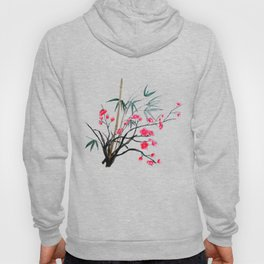 bamboo and red plum flowers Hoody