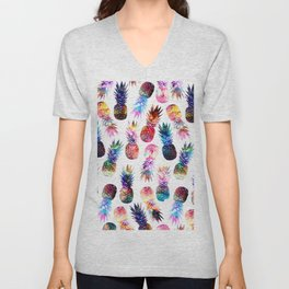 watercolor and nebula pineapples illustration pattern Unisex V-Neck