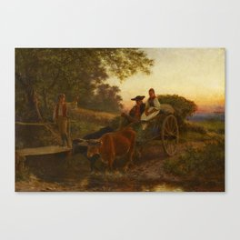 SCHLESINGER, CARL 1825 Lausanne - 1893   Returning Home from the Field. 1869. Canvas Print