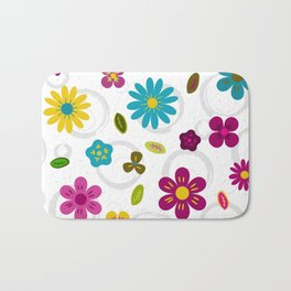 Cheerful colored flowers on doodle watercolor background Bath Mat