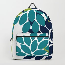 Bold Colorful Teal Green Navy Dahlia Flower Burst Petals Backpack