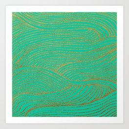 Wind Gold Turquoise Art Print