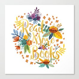 Read More Books - Floral Gold Canvas Print