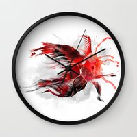 goldfish Wall Clocks featuring Goldfish by Robert Farkas