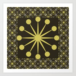 Starburst and Lines Mid Century Earth Colors Art Print