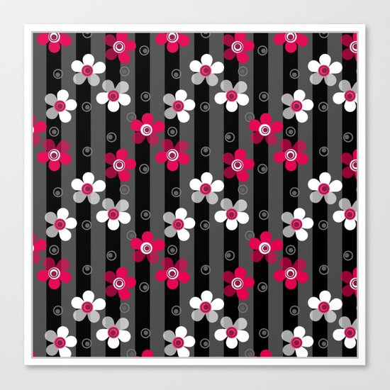 Crimson and white flowers on a black striped background Canvas Print