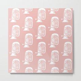Tuba Pattern Dusty Rose Metal Print