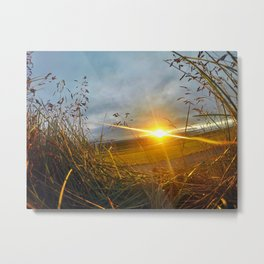 Icelandic Sunset from the Grass Roof of a Turf Farmhouse (2) Metal Print