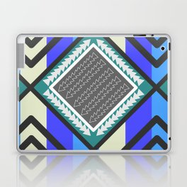Arrows and waves in blue Laptop & iPad Skin