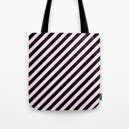 Pink Lace Pink and Black Diagonal RTL Stripes Tote Bag
